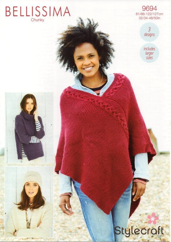 Stylecraft Bellissima chunky yarn knitting pattern 9694