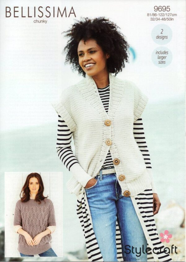 Stylecraft Bellissima chunky yarn knitting pattern 9695