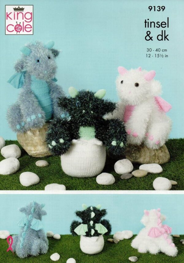 King Cole Tinsel yarn knitting pattern 9139