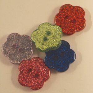 Glitter Flower Buttons